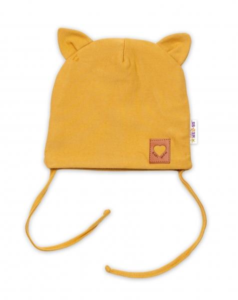 Baby Nellys Bavlnená dvojvrstvová čiapka s uškami na zaväzov. FOX- horčicová, veľ. 44-46cm-#Velikost koj. oblečení;40/46 čepičky obvod