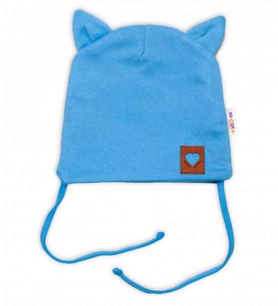 Baby Nellys Bavlnená dvojvrstvová čiapka s uškami na zaväzov., FOX - modrá, veľ. 40-42 cm-#Velikost koj. oblečení;40/42 čepičky obvod