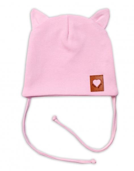 Baby Nellys Bavlnená dvojvrstvová čiapka s uškami na zaväzovanie, FOX - růžová, veľ. 44-46-#Velikost koj. oblečení;44/46 čepičky obvod