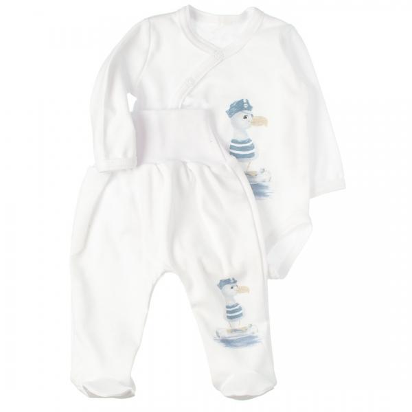 MBaby 2-dielna dojčenská sada body s dl.rukávom zap.bokom + polodupačky, Duck boy, vel. 68-#Velikost koj. oblečení;68 (4-6m)