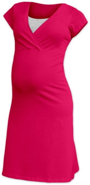 JOŽÁNEK Tehotenská, dojčiace nočná košeľa EVA krátky rukáv - sýto ružová-#Velikosti těh. moda;S/M