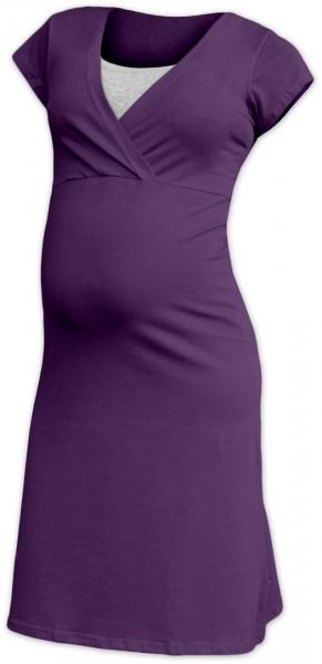 JOŽÁNEK Tehotenská, dojčiace nočná košeľa EVA krátky rukáv - slivková, veľ. M/L-#Velikosti těh. moda;M/L