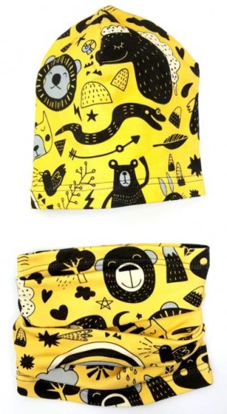BEXA Jarná čiapka + komín, Zvieratká, žltá / čierna-#Velikost koj. oblečení;6/12měsíců