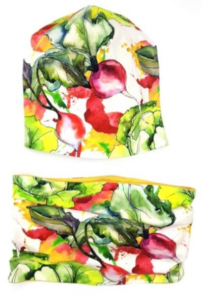 BEXA Jarná dvvojvrstvá čiapka + komín, Vegetables, viacfarebná-#Velikost koj. oblečení;1-2 roky