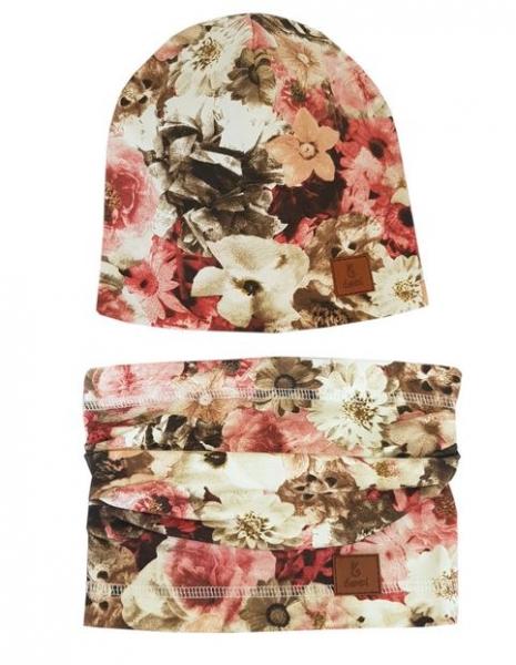 BEXA Jarná čiapka + komín, Kvety, pudrová-#Velikost koj. oblečení;6/12měsíců