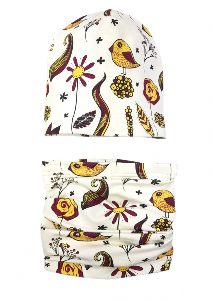 BEXA Jarná čiapka + komín, Bird, bordó-#Velikost koj. oblečení;1-2 roky