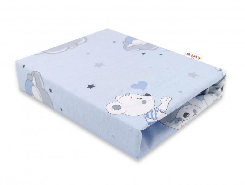 Baby Nellys Detské bavlnené prestieradlo do postieľky, Mráček - modré, 140 x 70 cm