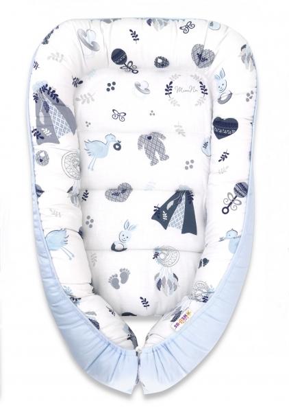 Baby Nellys Bavlnené obojstranné hniezdočko, 55x75cm, New Love Baby - modrá