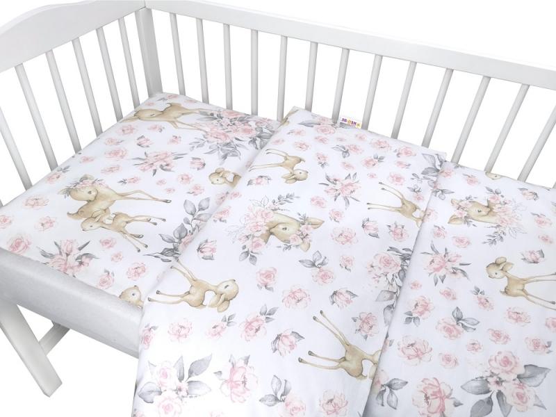 Baby Nellys 2-dielne bavlnené obliečky, Srnka a ruže - ružová-#Velikost povlečení;120x90
