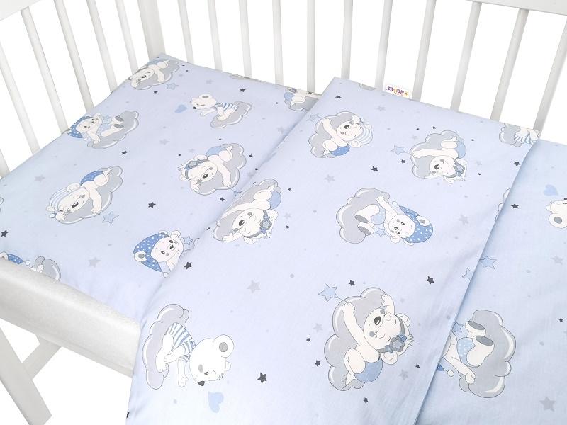 Baby Nellys 2-dielne bavlnené obliečky, Mráček - modrá, 135x100 cm