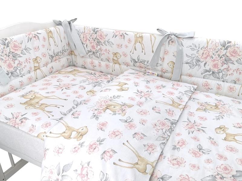 BABY NELLYS 3-dielna sada mantinel s obliečkami, Srnka a růže - růžová, 135x100 cm
