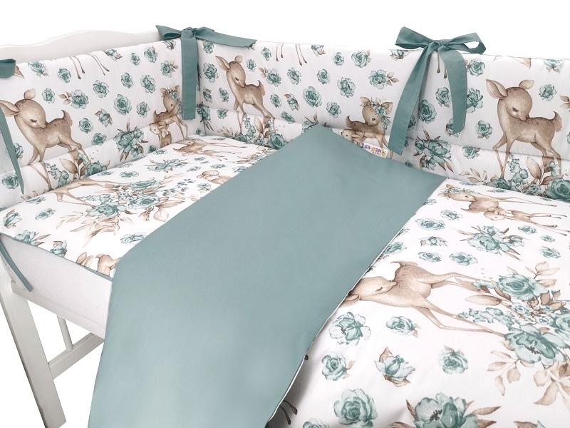 BABY NELLYS 3-dielna sada mantinel s obliečkami, Srnka a růže - mätová, 135x100 cm