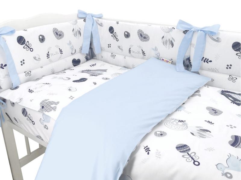 BABY NELLYS 3-dielna sada mantinel s obliečkami, New Love Baby, modrá, 135x100cm