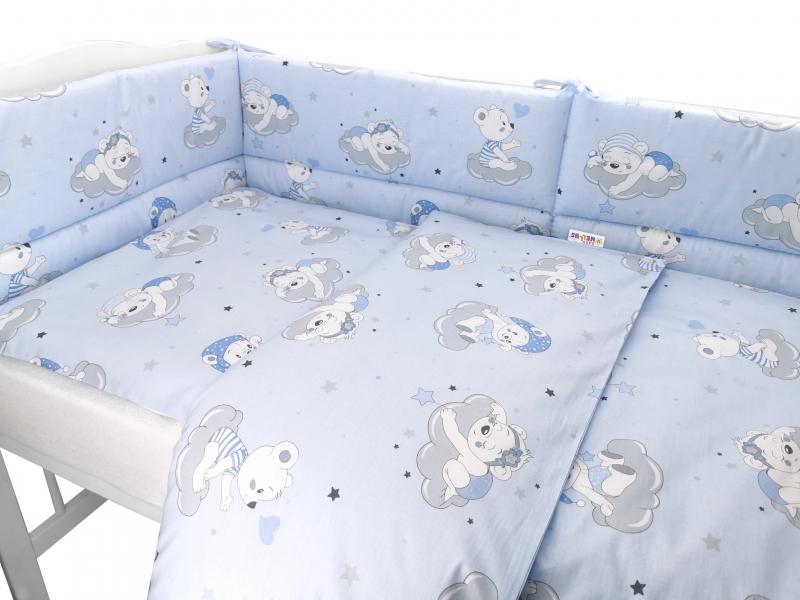 BABY NELLYS 3-dielna sada mantinel s obliečkami, Mráček, modrá
