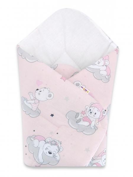Bavlnená novorodenecká zavinovačka Baby Nellys, Mráček, 75x75cm, ružová
