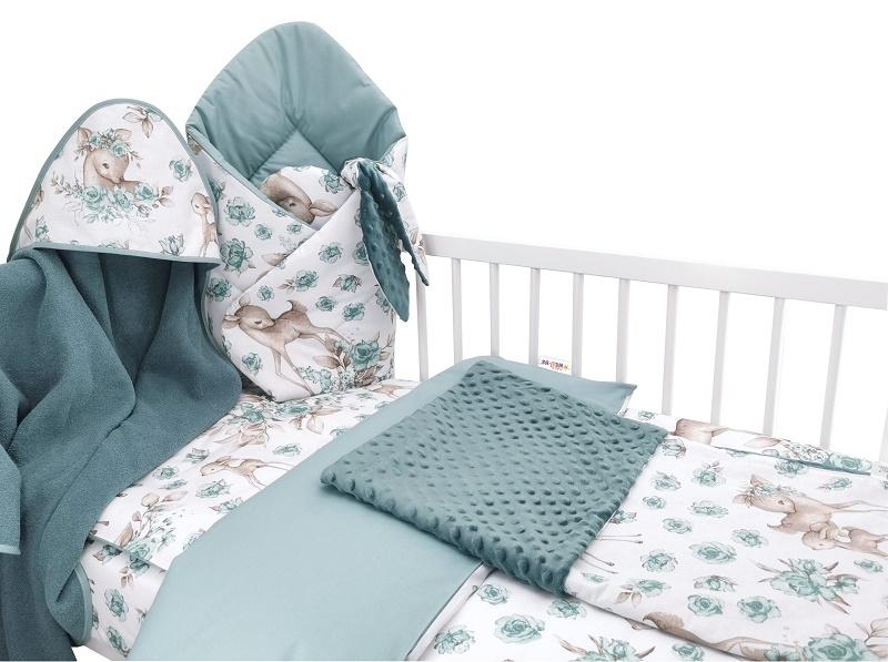 Baby Nellys 6-dielna výhod. súprava pre bábätko s darčekom, 135x100, Srnka a ruže, mätová