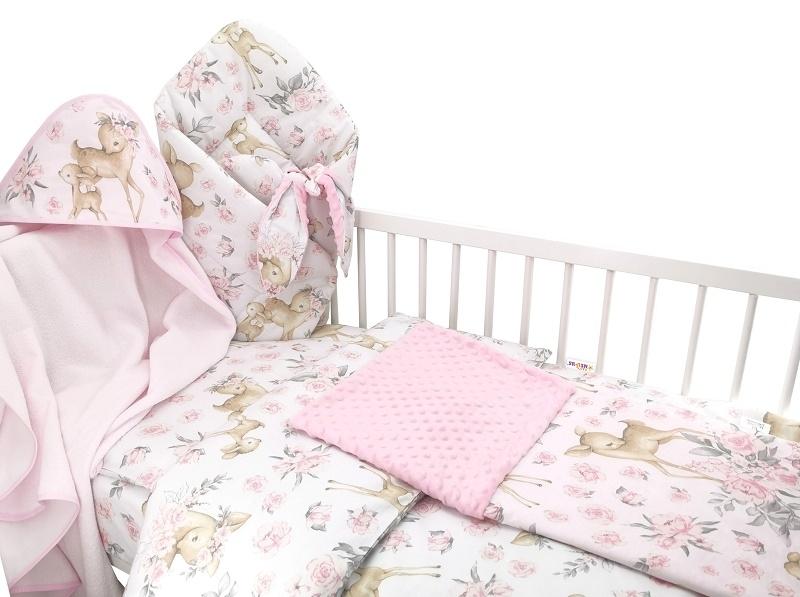 Baby Nellys 6-dielna výhod. súprava pre bábätko s darčekom,135 x 100, Srnka a ruže, růžová