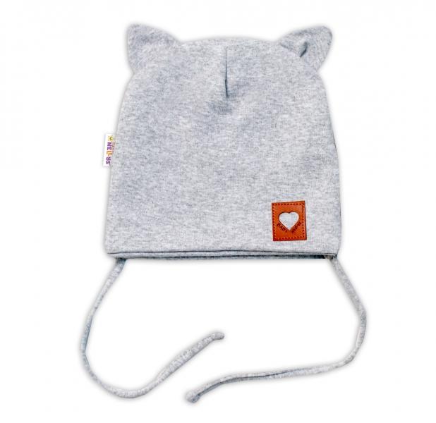 Baby Nellys Bavlnená dvojvrstvová čiapka s uškami na zaväzovanie, FOX - sivý melír, 40-42-#Velikost koj. oblečení;40/42 čepičky obvod