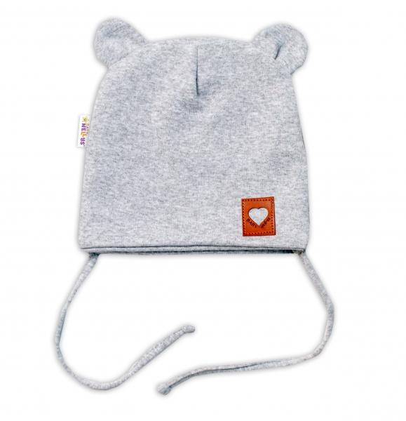 Baby Nellys Bavlnená dvojvrstvová čiapka s uškami na zaväzovanie, TEDDY - sivý melírok