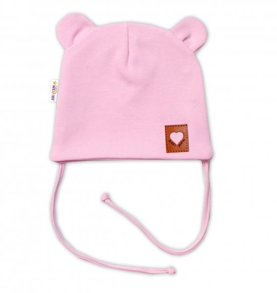 Baby Nellys Bavlnená dvojvrstvová čiapka s uškami na zaväzovanie, TEDDY - růžová
