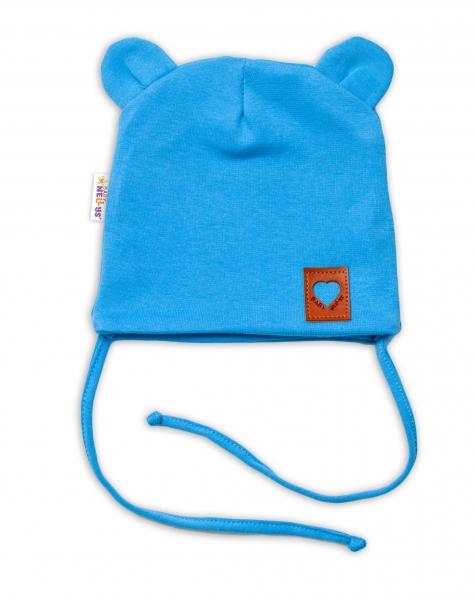 Baby Nellys Bavlnená dvojvrstvová čiapka s uškami na zaväzovanie, TEDDY - modrá