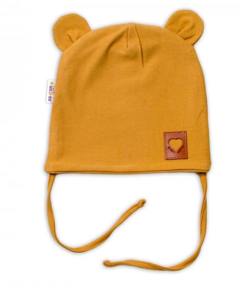 Baby Nellys Bavlnená dvojvrstvová čiapka s uškami na zaväzovanie, TEDDY - horčicová, 44-46-#Velikost koj. oblečení;44/46 čepičky obvod