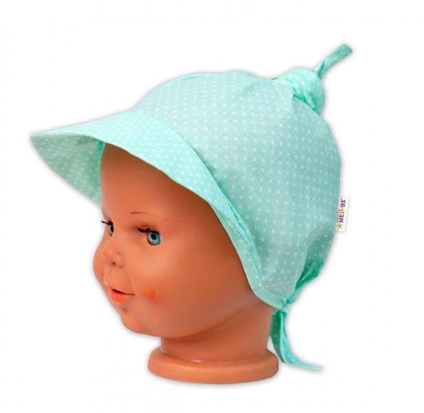 Baby Nellys Šatka na zaväzovanie so šiltom - Bodky, mätové-#Velikost koj. oblečení;univerzální