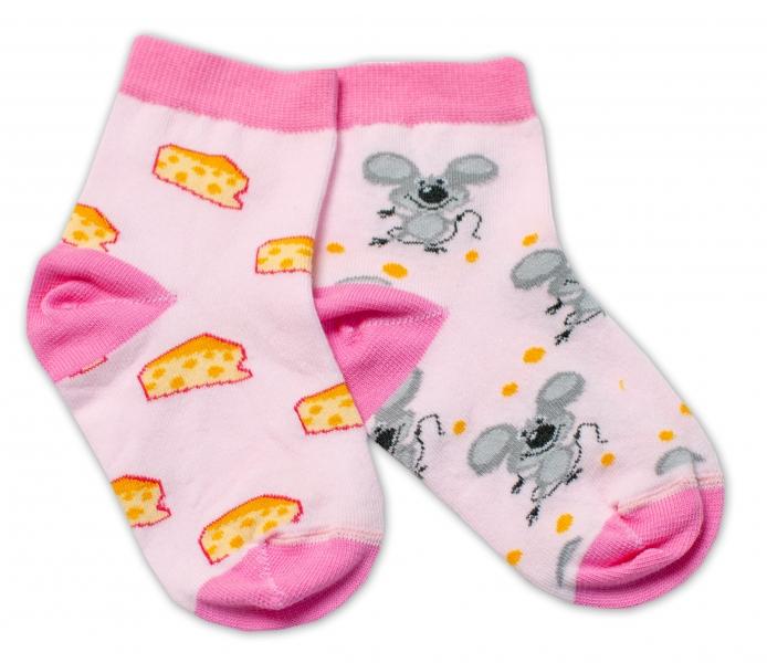 Baby Nellys Bavlnené veselé ponožky Myška a syr - svetlo ružová-#Velikost koj. oblečení;13-14 vel. ponožek