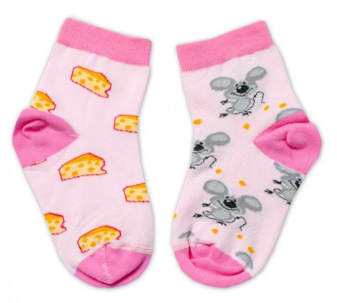 Baby Nellys Bavlnené veselé ponožky Myška a syr - svetlo ružová, veľ. 15-16 cm
