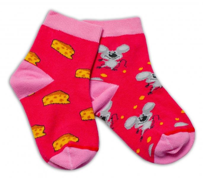 Baby Nellys Bavlnené veselé ponožky Myška a syr - tmavo ružová-#Velikost koj. oblečení;13-14 vel. ponožek