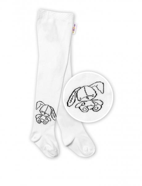 Baby Nellys Detské bavlnené pančuchy Cute Bunny - biele, veľ. 80/86