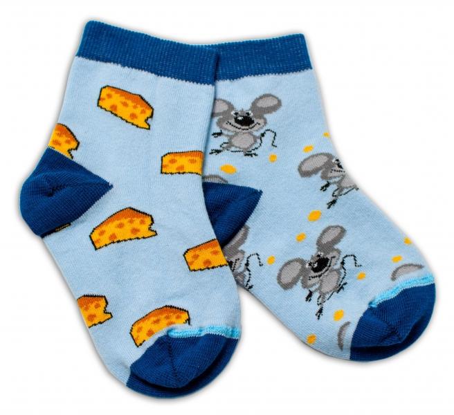 Baby Nellys Bavlnené veselé ponožky Myška a syr - svetlo modré-#Velikost koj. oblečení;13-14 vel. ponožek
