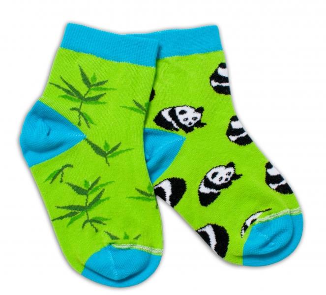 Baby Nellys Bavlnené veselé ponožky  Panda - zelené-#Velikost koj. oblečení;13-14 vel. ponožek