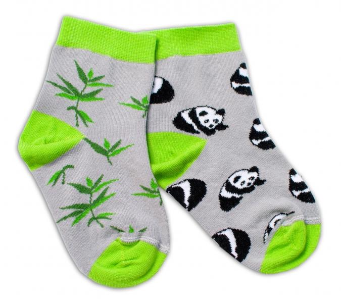 Baby Nellys Bavlnené veselé ponožky  Panda - sivé, veľ. 15-16 cm-#Velikost koj. oblečení;15-16 vel. ponožek