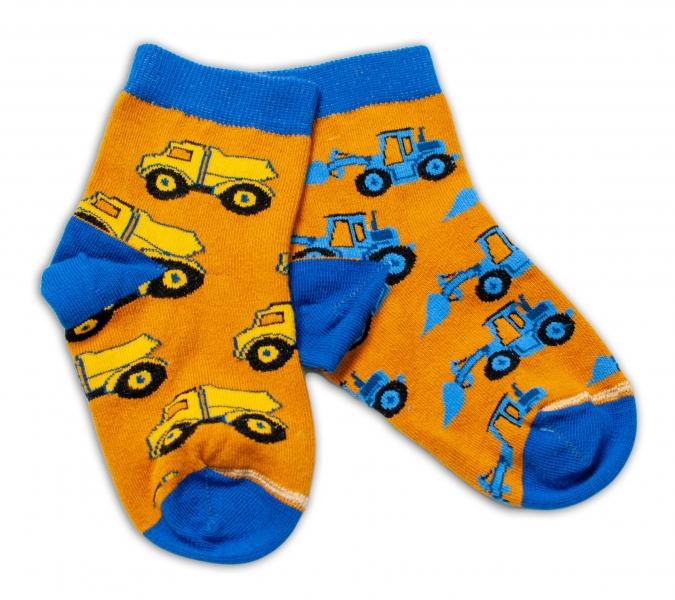 Baby Nellys Bavlnené veselé ponožky Stavebné stroje - horčicove, veľ. 15-16 cm-#Velikost koj. oblečení;15-16 vel. ponožek