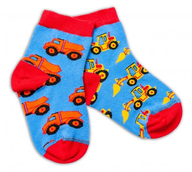 Baby Nellys Bavlnené veselé ponožky Stavebné stroje - modré, veľ. 15-16 cm-#Velikost koj. oblečení;15-16 vel. ponožek