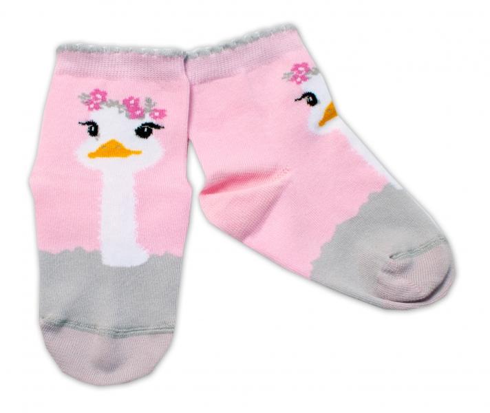 Baby Nellys Bavlnené ponožky Pštros - svetlo růžové, veľ. 122/128