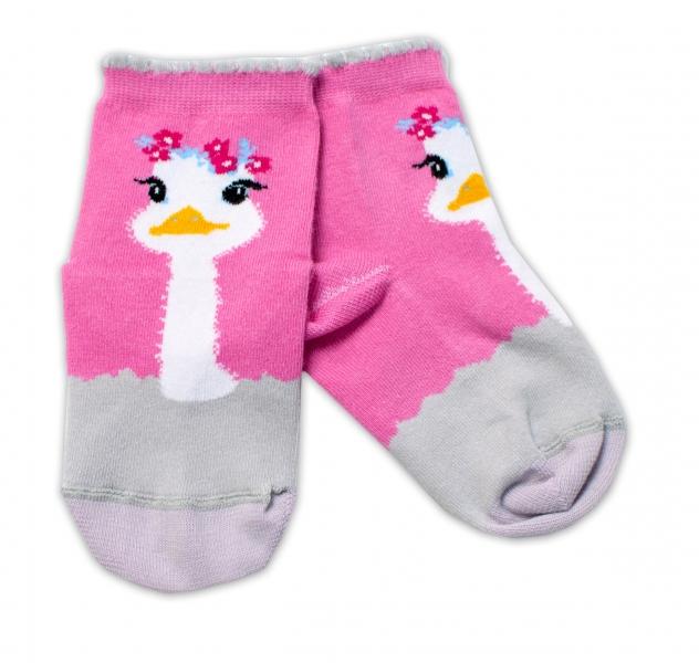 Baby Nellys Bavlnené ponožky Pštros - tmavo růžové, veľ. 15-16 cm-#Velikost koj. oblečení;15-16 vel. ponožek