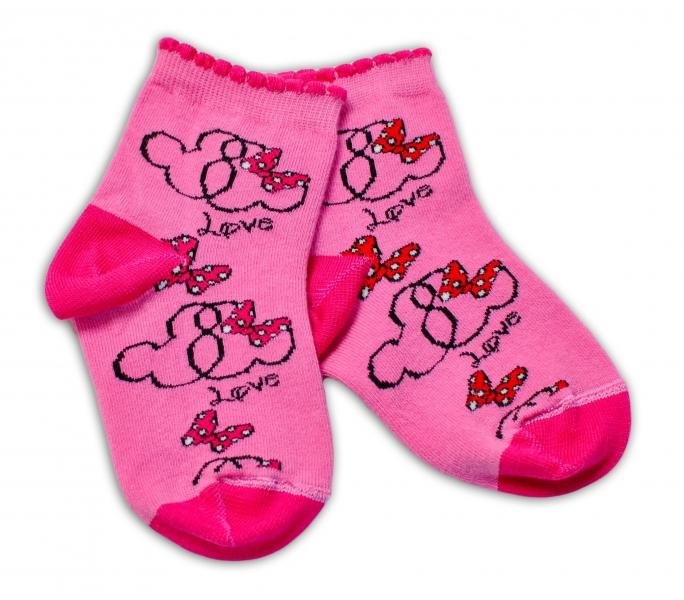 Baby Nellys Bavlnené ponožky Minnie Love - tmavo růžové-#Velikost koj. oblečení;13-14 vel. ponožek
