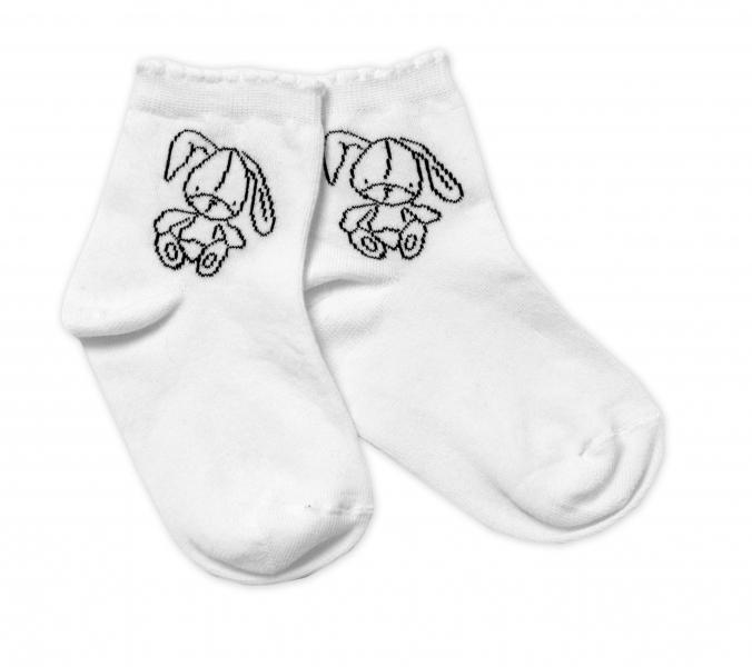 Baby Nellys Bavlnené ponožky Cute Bunny - biele, veľ. 122/128