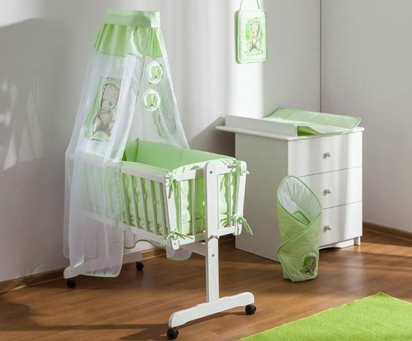 Baby Nellys 8-dielna súprava do kolísky Sweet Dreams by TEDDY - zelená