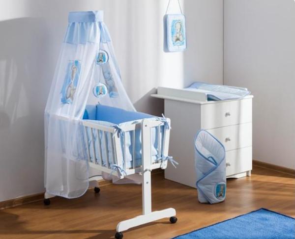 Baby Nellys 8-dielna súprava do kolísky Sweet Dreams by TEDDY - modrá