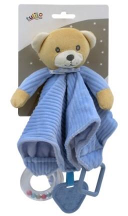 Tulilo Přítulníček, maznáčik s hrkálkou a hryzátkom Méďa Teddy - modrý
