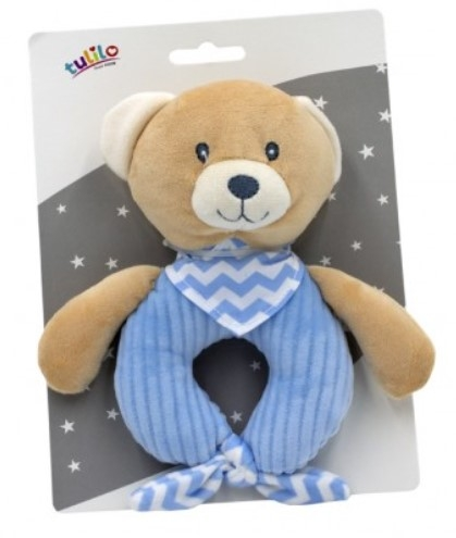 Tulilo Závesná plyšová hračka s hrkálkou Méďa Teddy, modrý, 15 cm