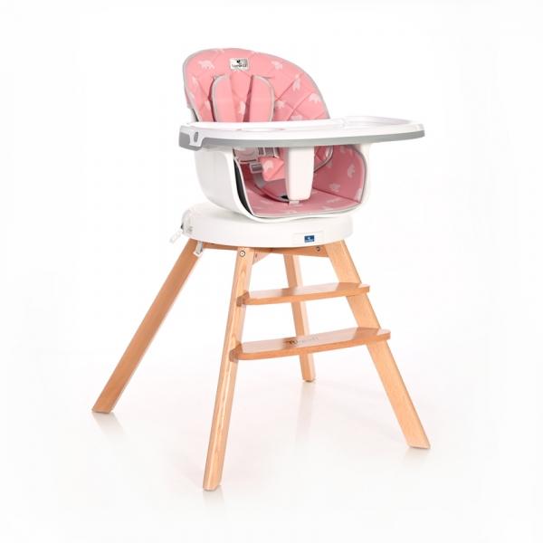 Jedálenská stolička Lorelli NAPOLI WITH ROTATION Bears Pink