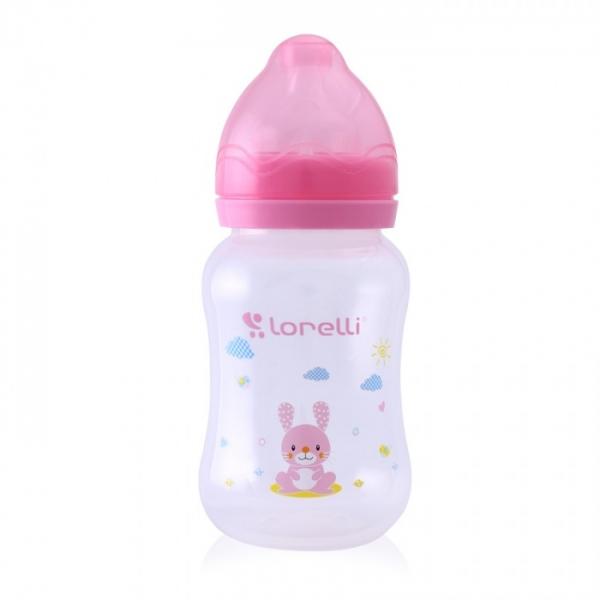 Dojčenská fľaštička Lorelli 250 ml so širokým hrdlom, Animal pink