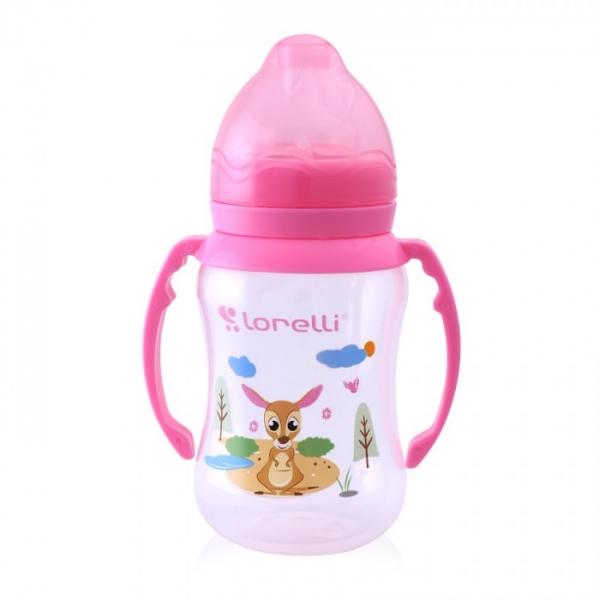 Dojčenská fľaštička Lorelli 250 ml so širokým hrdlom a uškami ANIMALS, pink
