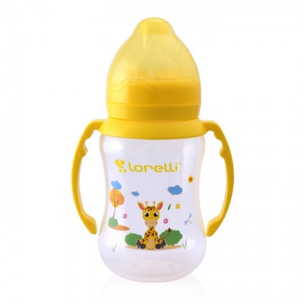 Dojčenská fľaštička Lorelli 250 ml so širokým hrdlom a uškami ANIMALS, yellow