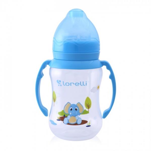 Dojčenská fľaštička Lorelli 250 ml so širokým hrdlom a uškami ANIMALS, blue