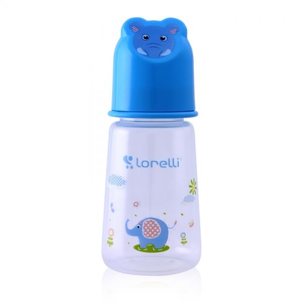 Dojčenská fľaštička Lorelli 125 ml s vikom v tvare zvieraťa, blue